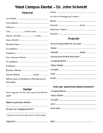 West Campus Dental New Patient Forms